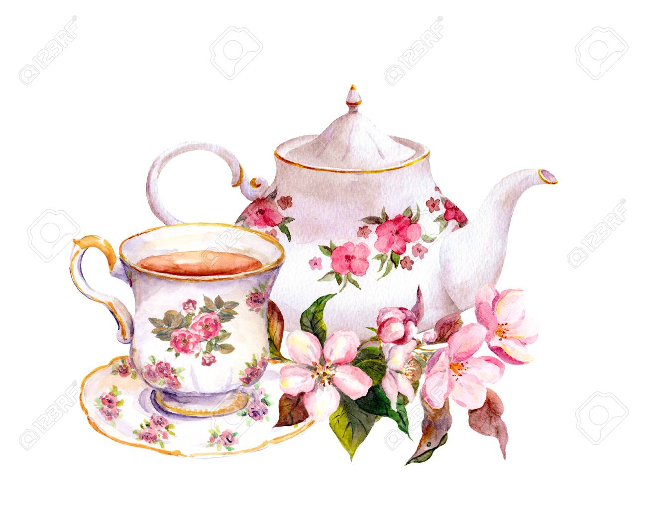 Tea cup and tea pot with flowers. Vintage watercolor design